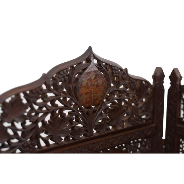 Islamic Moorish Carved Teak 3-Fold Screen For Sale - Image 3 of 8