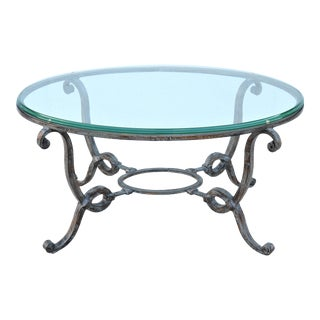 Vintage French Style Wrought Iron and Glass Oval Coffee Table For Sale