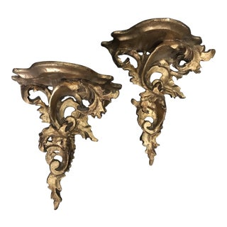 Carved Wood Wall Handing Gold Rocaille Brackets - A Pair