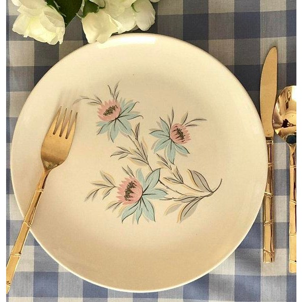 Boho Chic Mid-Century Modern Pink & Blue Floral Plates - Set of 8 For Sale - Image 3 of 11