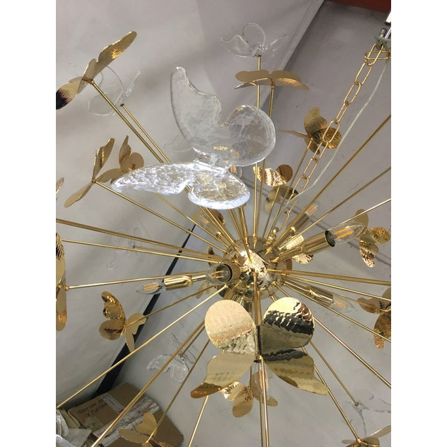 Italian Hand Made Gold 24k Butterfly Sputnik Chandelier For Sale - Image 6 of 13