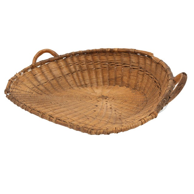 Brown Antique French Winnowing Basket For Sale - Image 8 of 8