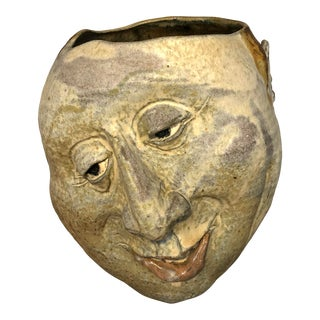 Large Signed Ceramic Face Studio Art Vessel For Sale