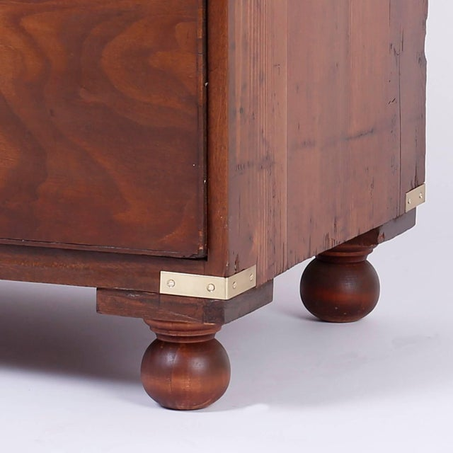 Wood Antique Campaign Style Chest of Drawers or Dresser For Sale - Image 7 of 11
