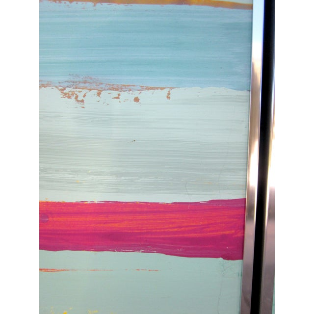 1980s Vintage Four Panel Abstract Geometric Seaside Pastel Horizontal Line Paintings - Set of 2 For Sale - Image 9 of 12