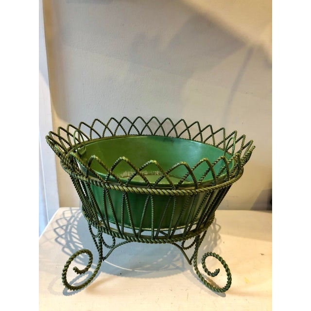 Metal French Wrought Iron Footed Planter For Sale - Image 7 of 7
