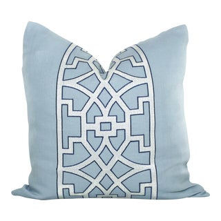 "20"" X 20"" Mary McDonald Light Blue Trellis Decorative Pillow Cover For Sale"