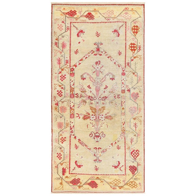 Antique Shabby Chic Tribal Turkish Ghiordes Rug - 3′5″ × 6′6″ For Sale