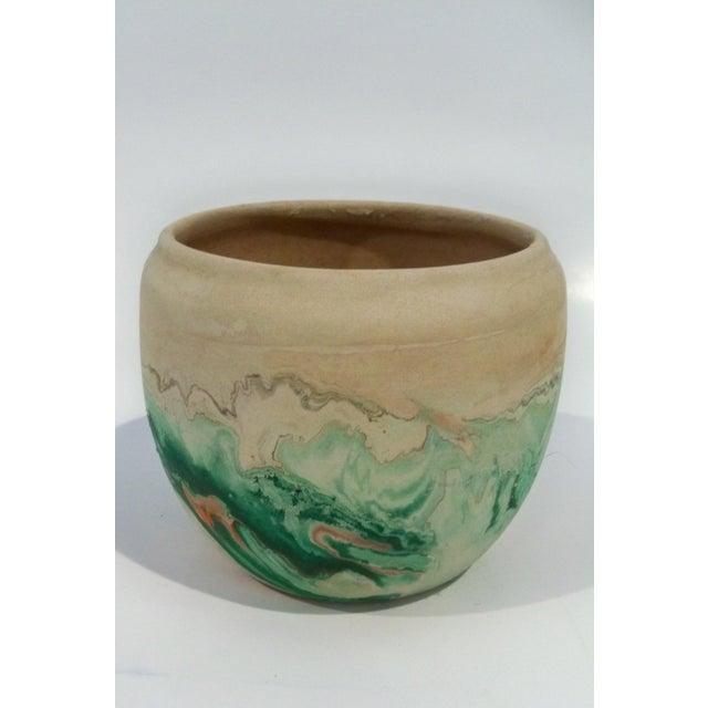Vintage Roadside Nemadji Pottery in Orange & Green - Set of 4 For Sale - Image 4 of 8