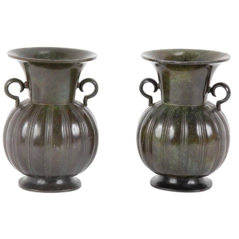 Pair of Just Andersen Disko Metal Patinated Vases For Sale In New York - Image 6 of 6