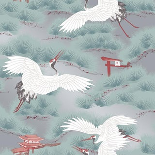 Asian Toile, Sterling and Cherry Blossom Red Wallpaper For Sale