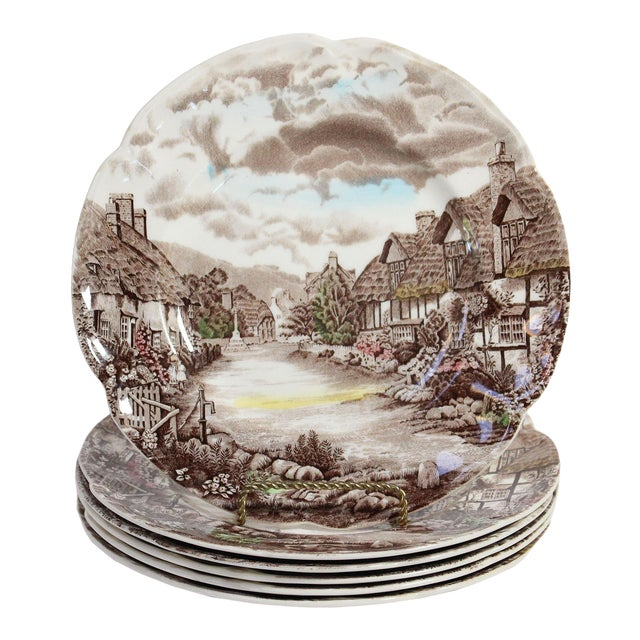 """Johnson Bros """"Olde English Countryside"""" Brown Transferware Dinnerplates - Set of 6 For Sale"""