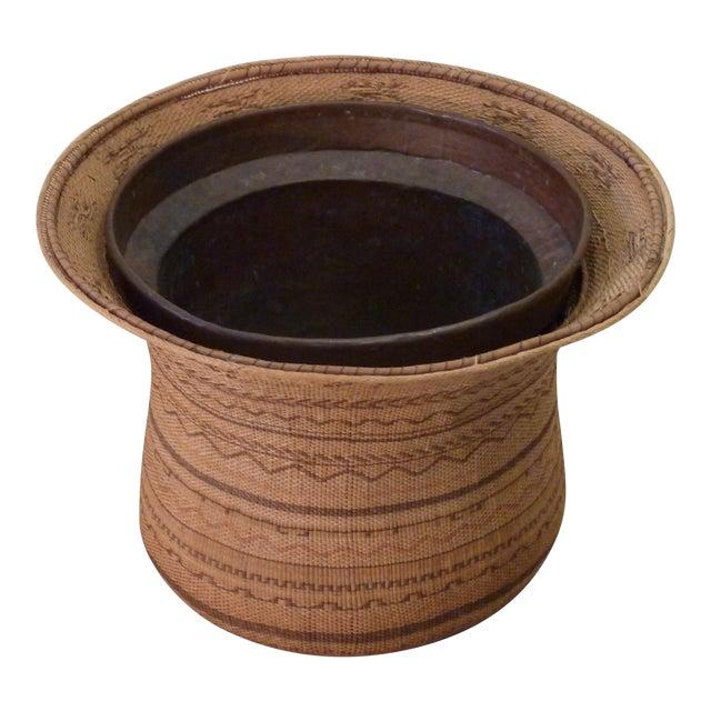 Copper Lined Basket Cachepot For Sale