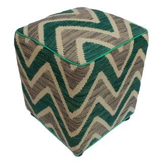 Arshs Deidre Ivory/Green Kilim Upholstered Handmade Ottoman For Sale