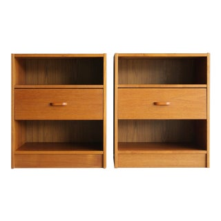 Danish Modern Teak Nightstands, a Pair