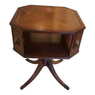 20th Century Traditional Leather Topped Brass Footed Octagonal Side Table
