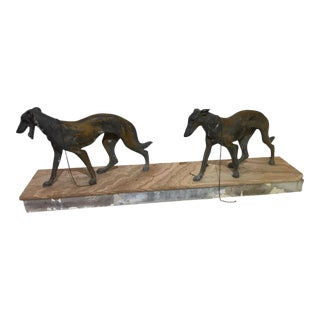 Art Deco Metalware Walking Hounds on Marble Base For Sale