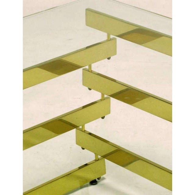 Architectural Stacked Solid Brass Bar & Glass Coffee Table For Sale - Image 9 of 9