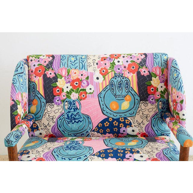 Abstract Antique English Winged Settee With Floral Upholstery For Sale - Image 3 of 13