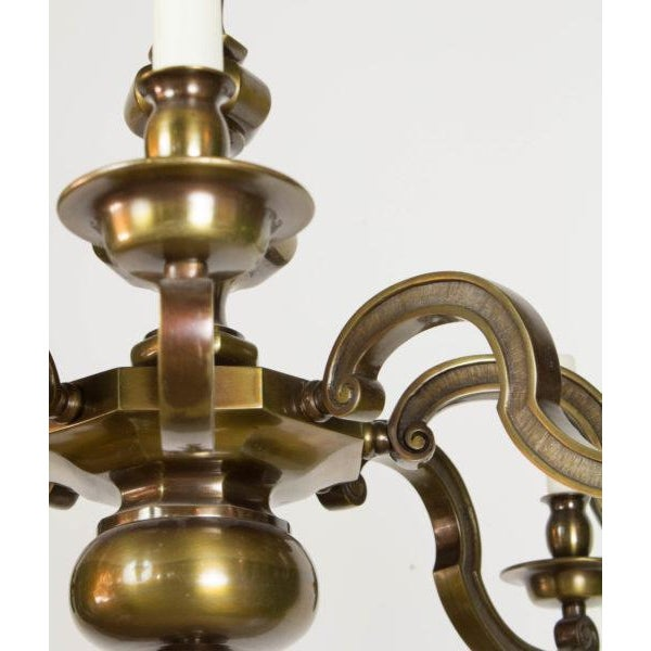 Traditional Eight Light Antique Brass Chandelier For Sale - Image 3 of 9