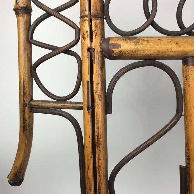Vintage Bamboo Standing Fireplace Screen Table Top Room Screen For Sale - Image 4 of 9