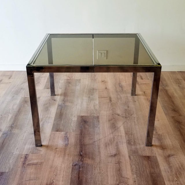 Mid-Century Modern 1970s Milo Baughman Square Chrome and Smoked Glass Dining Table For Sale - Image 3 of 12