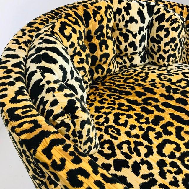 Pair of Custom Barrel-Back Armchairs in Leopard Velvet For Sale - Image 10 of 12