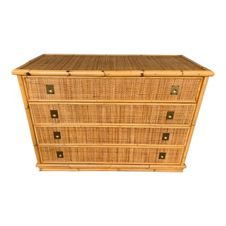 1970s Dal Vera Italian Bamboo Rattan and Brass Chest of Drawers For Sale