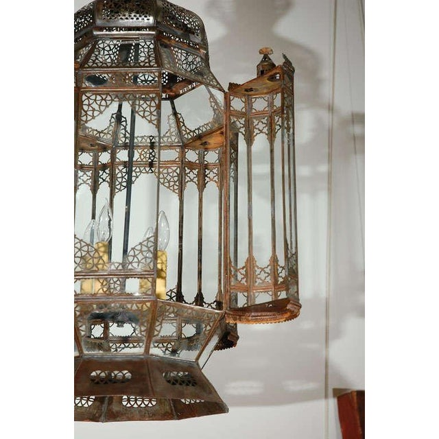 Large Vintage Moroccan Moorish Glass Light Fixture For Sale - Image 4 of 10