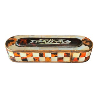 Vintage Moroccan Box Carved Wood With MOP Inlay For Sale
