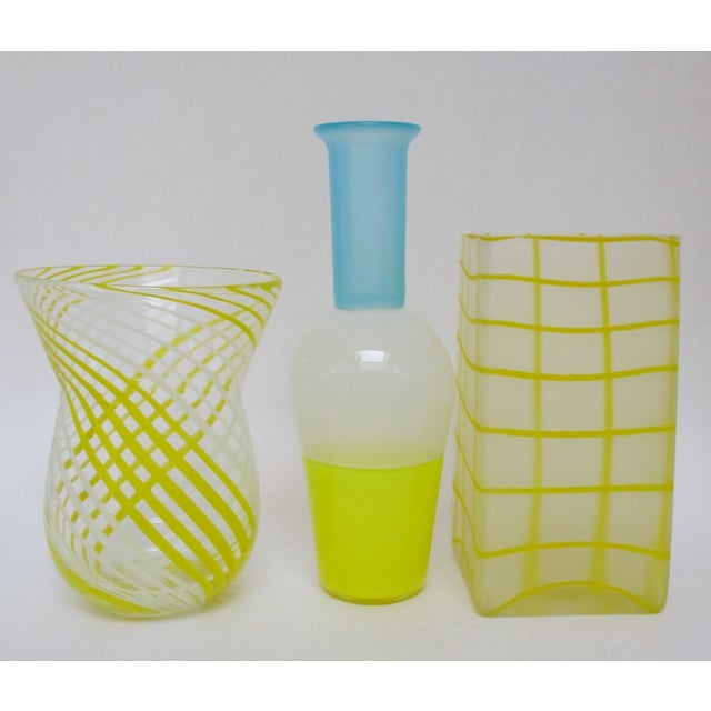 Contemporary Blown Yellow Glass Vases - Set of 3 For Sale - Image 3 of 5