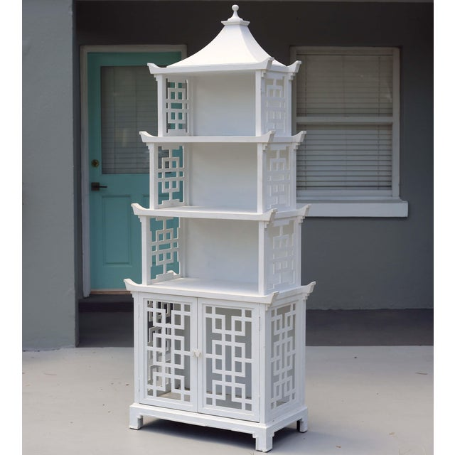 Vintage Fretwork Pagoda Bookcase or Etagere For Sale - Image 12 of 12