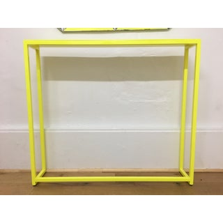 Contemporary Fluorescent Yellow Powder-Coated Metal Console Table Preview