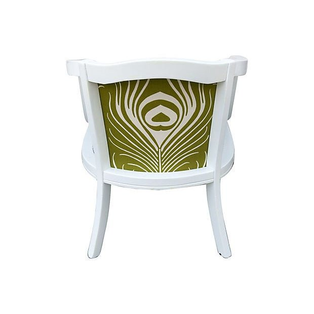 Cane Chair with Green Plume Upholstery - Image 3 of 3