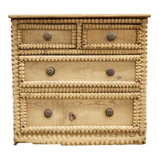 English Pine Sawtooth Chest For Sale
