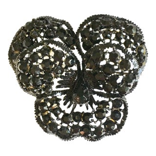 "1960s Vintage Weiss Black ""Japanned"" Austrian Crystal ""Butterfly"" Brooch For Sale"
