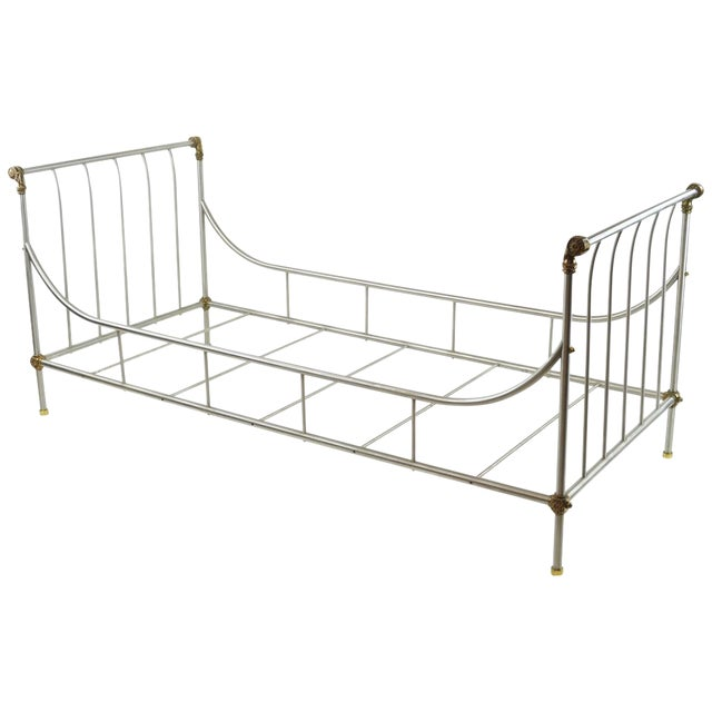 Maison Jansen Style Steel & Brass Daybed - Image 1 of 9