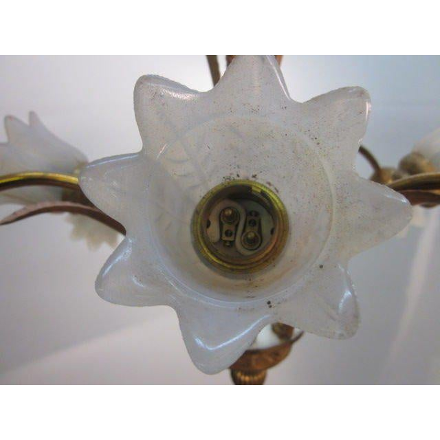 1950s Italian Bronze and Glass Chandelier or Light Fixture For Sale - Image 5 of 7