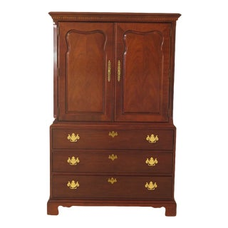 1990s Thomasville Mahogany 2-Door Chifferobe Wardrobe For Sale