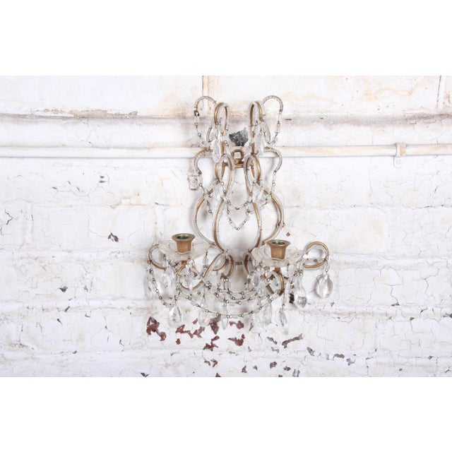 Brass Pair of Antique Italian Baroque Wall Sconces in Crystal, Brass, and Gilt Metal For Sale - Image 8 of 13