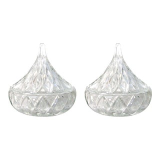 Vintage Crystal Teardrop Lidded Bowls, Pair For Sale