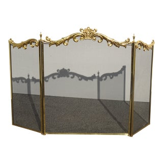Vintage French Provincial Three Panel Brass Fireplace Screen W Scrolls Florishes For Sale