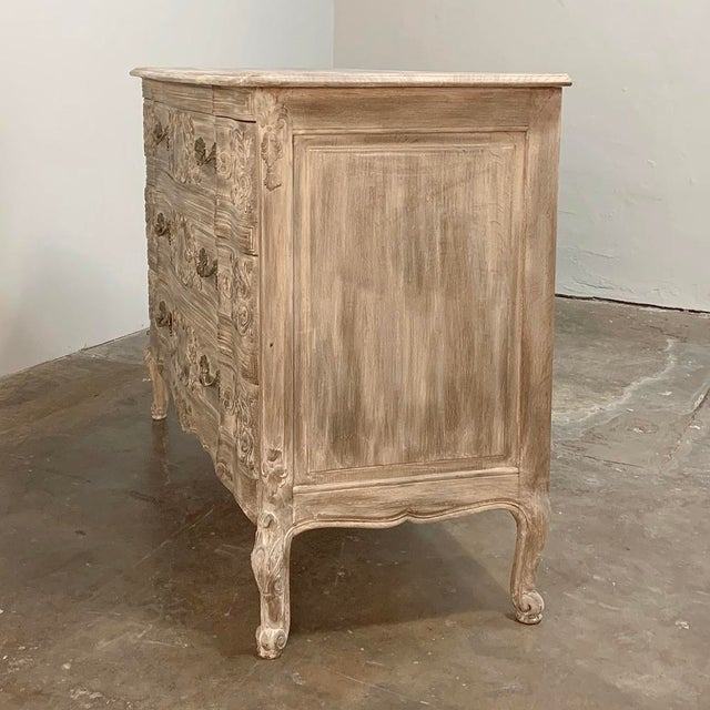 Antique Country French Whitewashed Oak Commode For Sale - Image 4 of 13