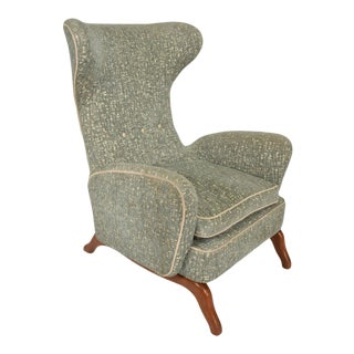 Mid Century Italian Modern Wingback Arm Chair in the Manner of Gio Ponti For Sale
