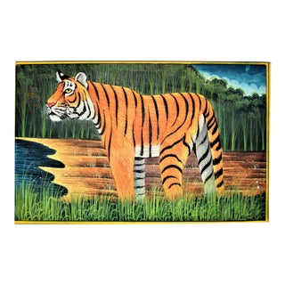Vintage Indian Bengal Tiger Folk Art Painted on Paper For Sale