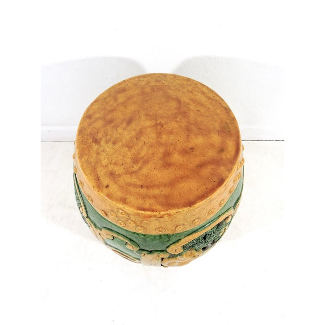 Wood Antique Chinese Sancai Glazed Ceramic Garden / Drum Stool or Side Table (Lion, Camel & Panther) For Sale - Image 7 of 8