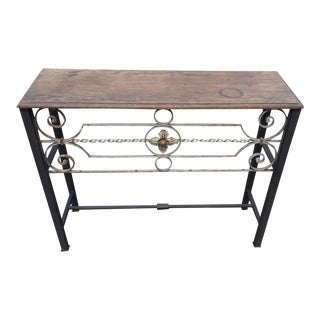 Antique European Wrought Iron Transom Console For Sale