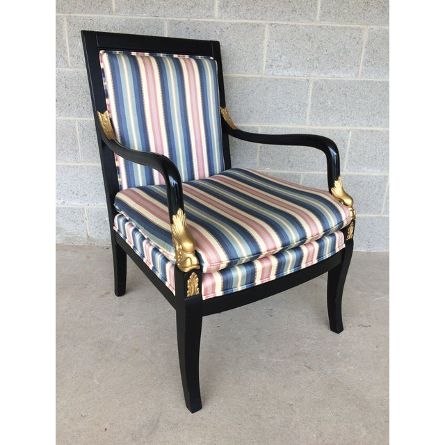 Ethan Allen Dolphin Federal Black with Gold Trim Upholstered Arm Chair. In Very Good Solid Condition, Normal Vintage...