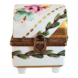 Vintage Limoges Heart Lock Ring Box For Sale