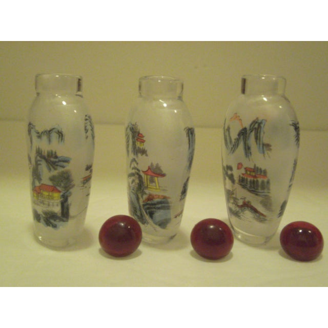 Peking Back Painted Glass Bottles - Set of 4 - Image 9 of 11